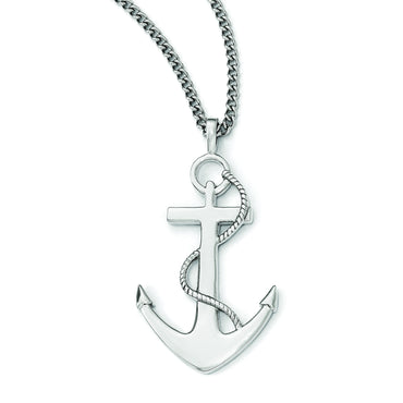 Stainless Steel Polished Anchor Mariner Cross Necklace SRN1957 - shirin-diamonds
