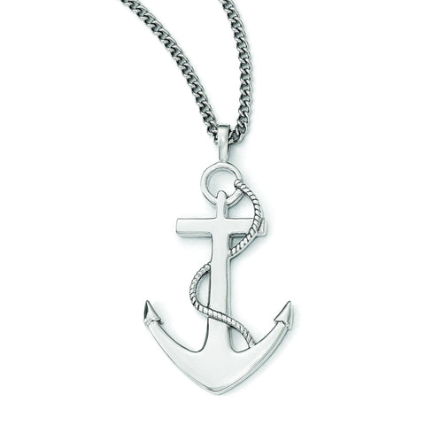 Stainless Steel Polished Anchor Mariner Cross Necklace SRN1957-24