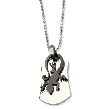 Stainless Steel Polished & Black Enamel Lizard  Necklace SRN420 - shirin-diamonds