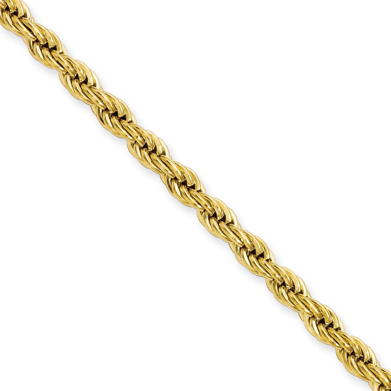 Stainless Steel Yellow IP-plated 4.0mm 24in Rope Chain SRN673GP - shirin-diamonds