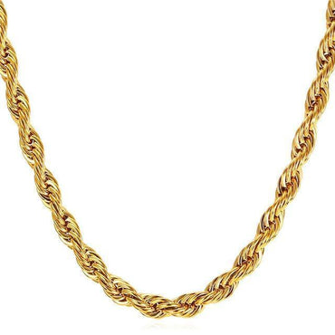 "10K 2Mm Yellow Gold Hollow Diamond Cut Rope Chain 18"" - 24"""