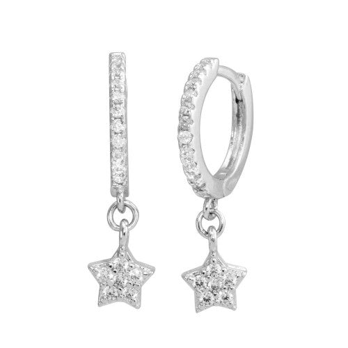Sterling Silver 925 Rhodium Plated Dangling CZ Star Huggie Earrings - STE01213 - shirin-diamonds