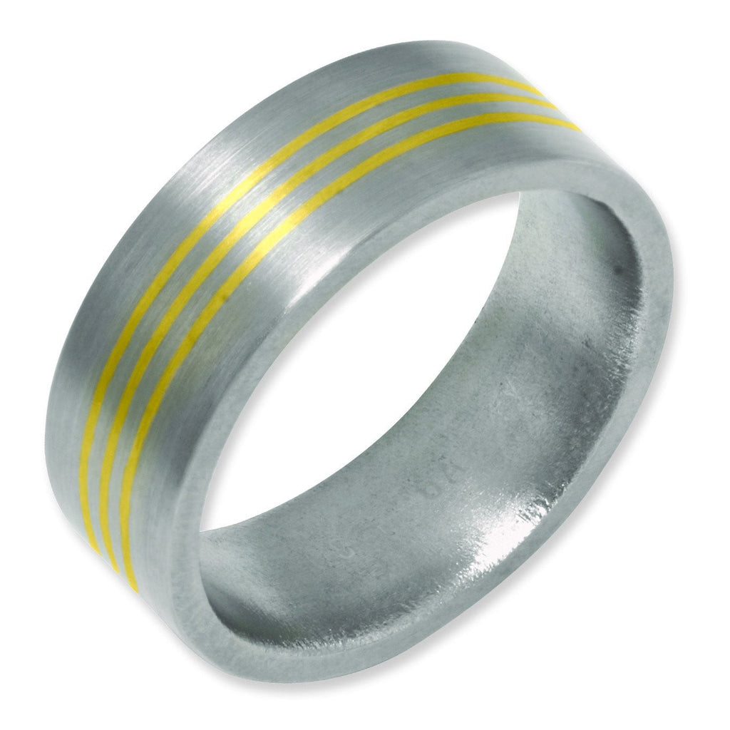 Titanium 14k Gold Inlay 8mm Satin Band - shirin-diamonds