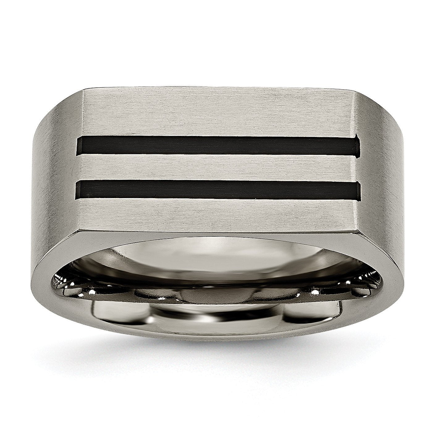 Titanium 10mm Black Enamel Stripes Brushed Band TB250 - shirin-diamonds