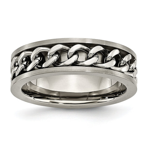 Titanium 7mm Chain Inlay Brushed Band TB251 - shirin-diamonds
