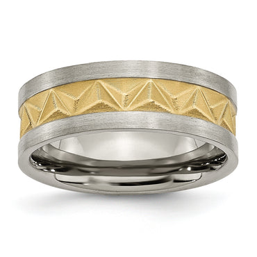 Titanium Brushed and Yellow IP-plated Mens 8mm Band TB275 - shirin-diamonds