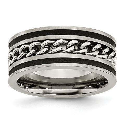 Titanium 10mm Chain Inlay Black IP-plated Brushed & Polished Band TB308 - shirin-diamonds