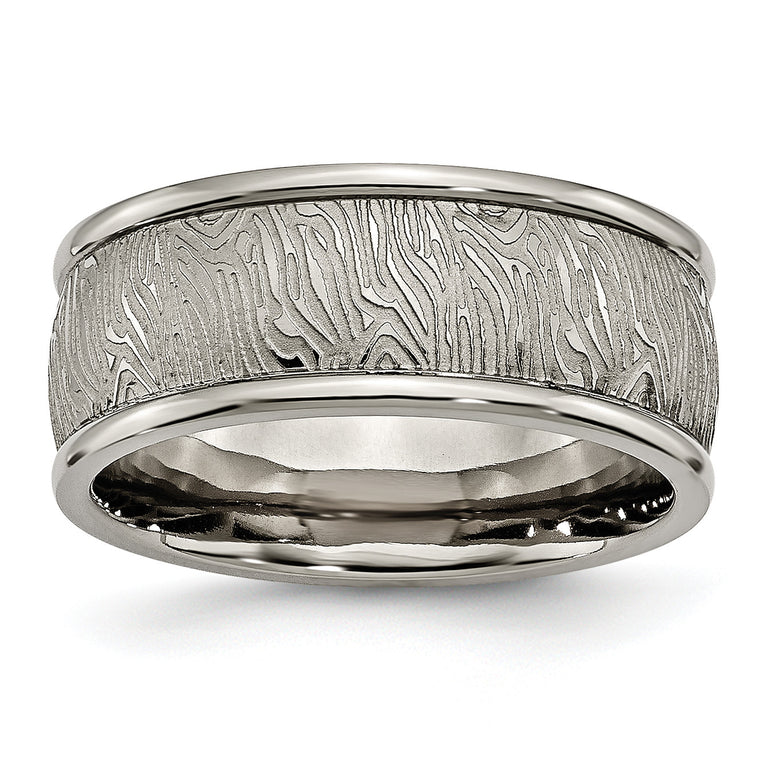 Titanium Polished 9mm Textured Rounded Edge Ring TB428 - shirin-diamonds