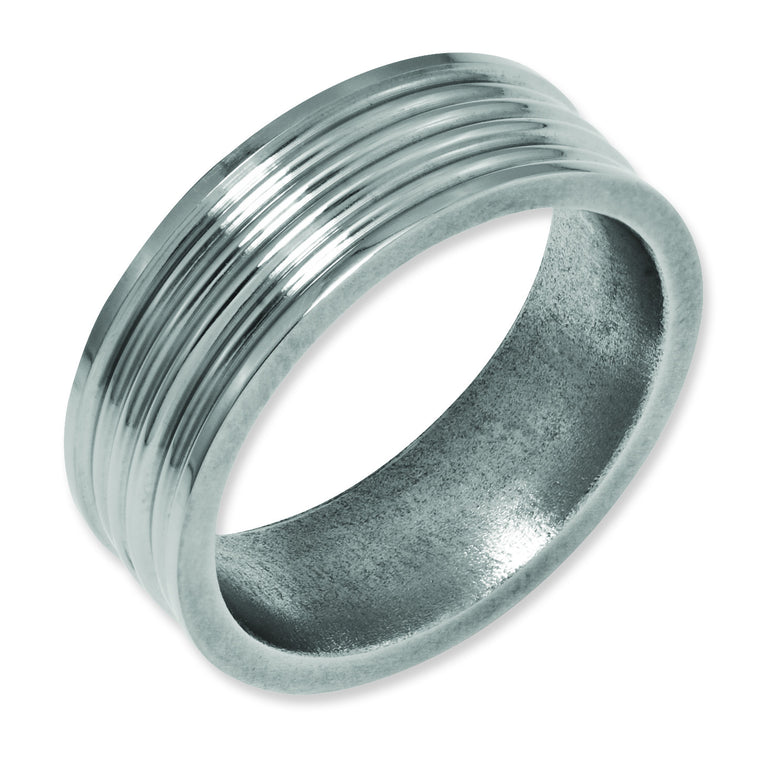 Titanium Grooved 8mm Polished Band TB58 - shirin-diamonds