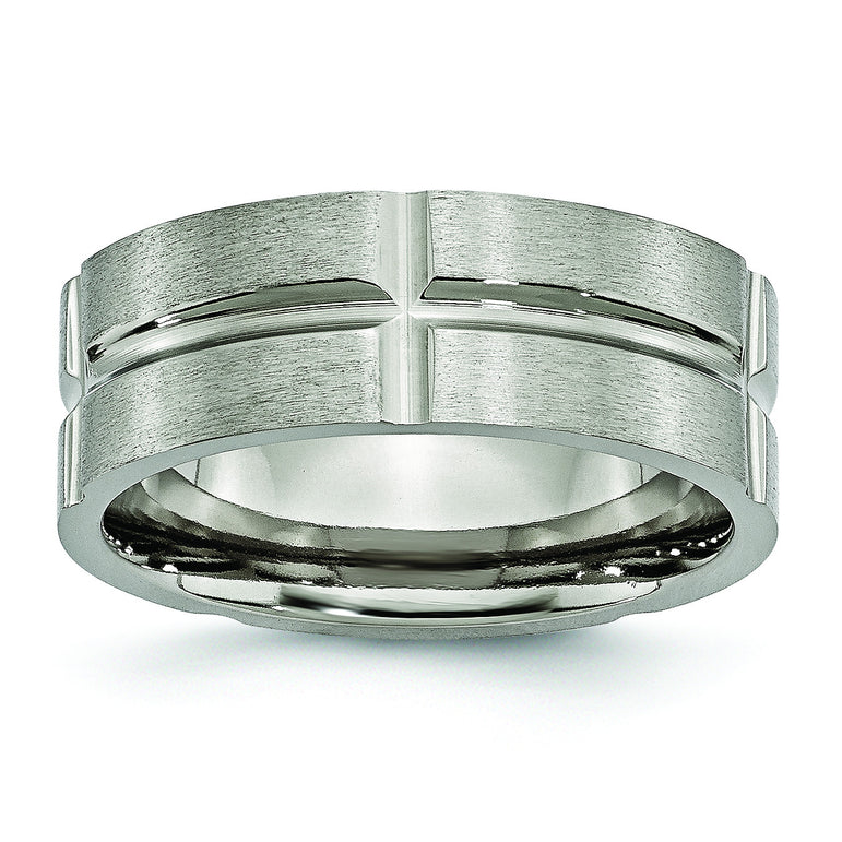Titanium Grooved 8mm Brushed and Polished Band TB74 - shirin-diamonds