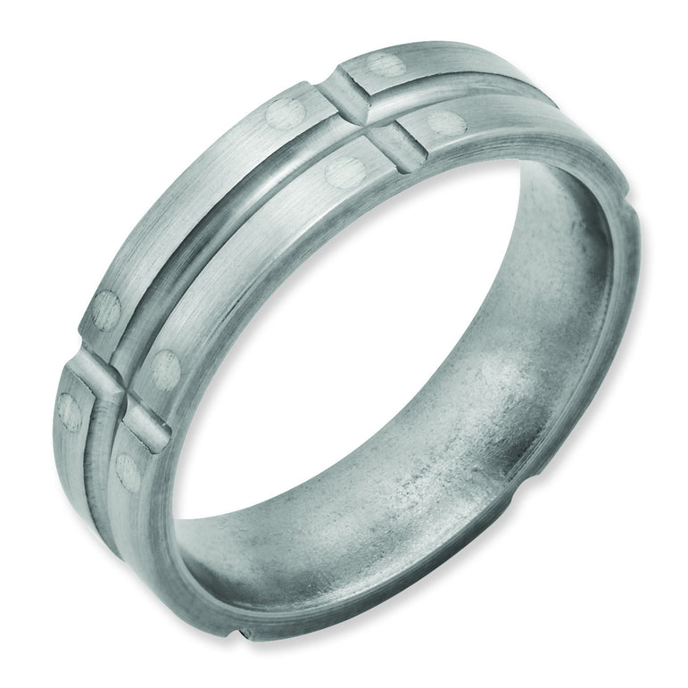 Titanium Grooved Sterling Silver Dots 6mm Brushed and Polished Band TB75 - shirin-diamonds