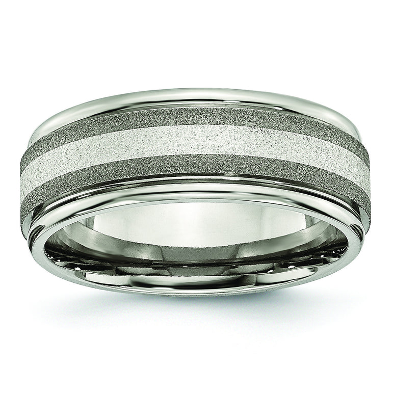 Titanium Polished /Stone Finish Center Grooved Edge Sterling Inlay Band TB83 - shirin-diamonds