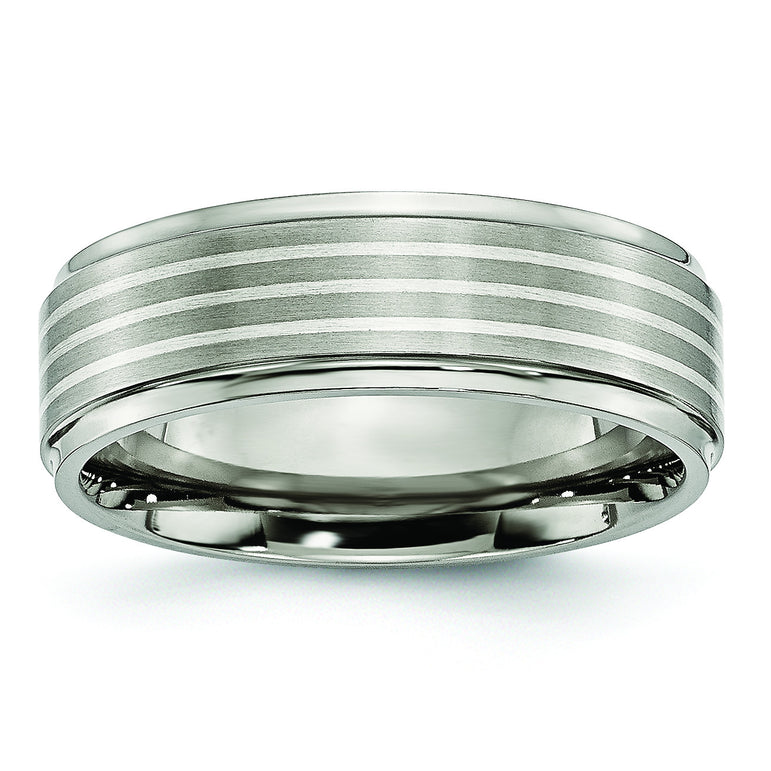 Titanium Ridged Edge Sterling Silver Inlay 7mm Brushed/Polished Band TB91 - shirin-diamonds