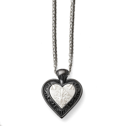 Titanium/Ster.Sil Black Ti Polished Etched Heart w/2 Chain Necklace TBN168 - shirin-diamonds