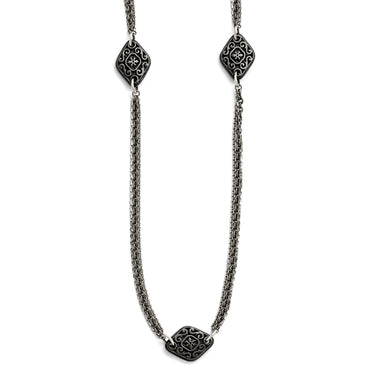 Titanium/Ster.Sil Black Ti Polished Etched Charms Necklace TBN170 - shirin-diamonds