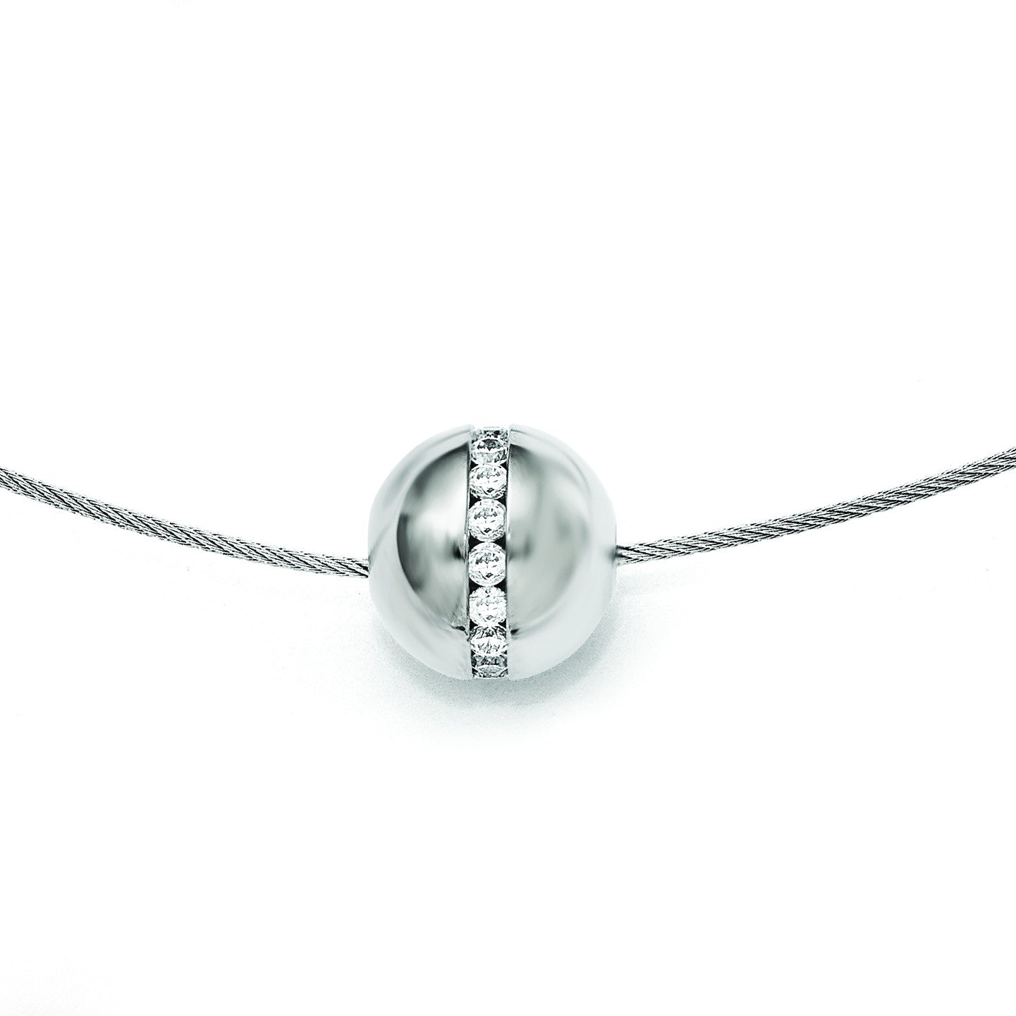 Titanium CZ Pendant with Polished Stainless Steel Wire Necklace TBN177-17 - shirin-diamonds