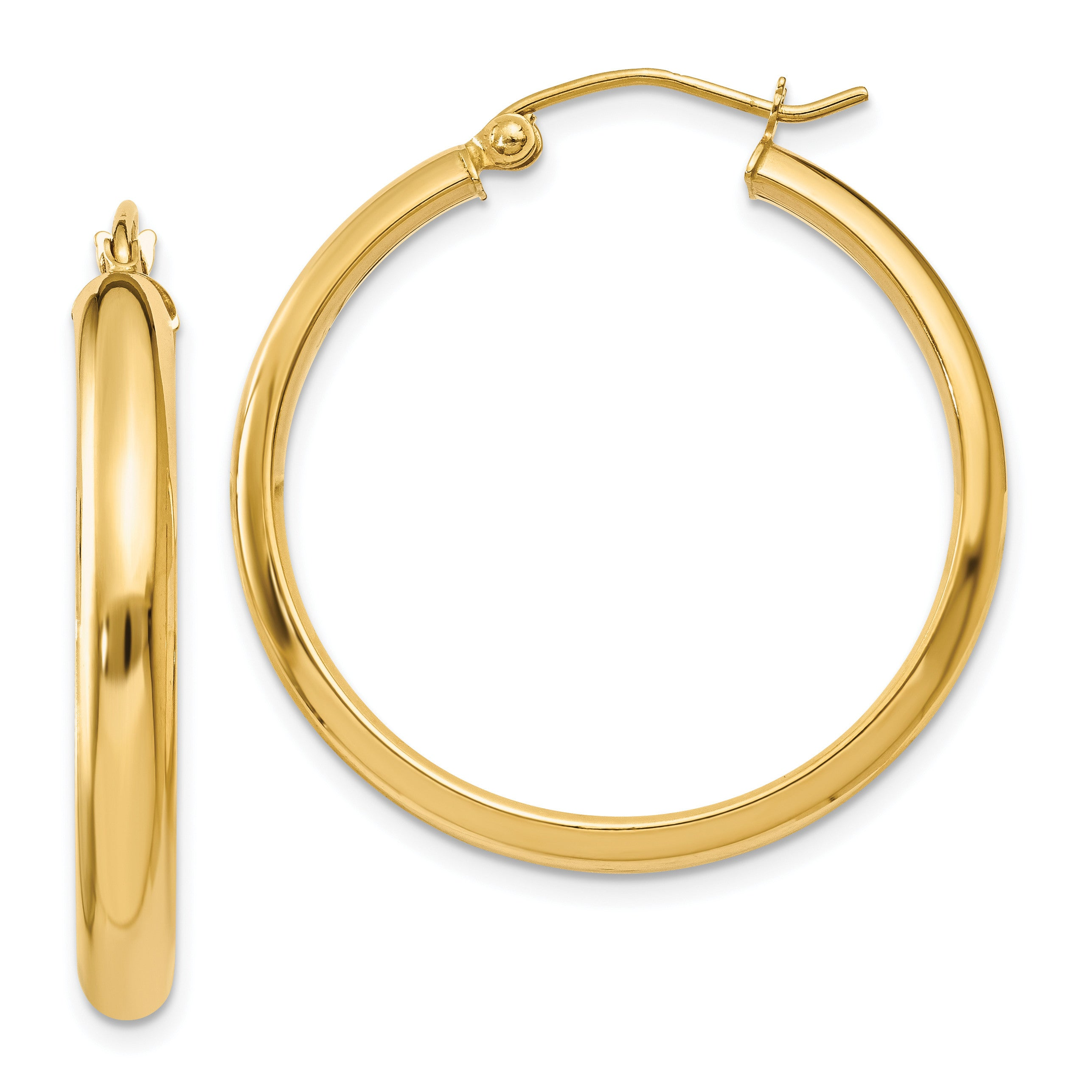 14k Round Tube Hoop Earrings TC142 - shirin-diamonds