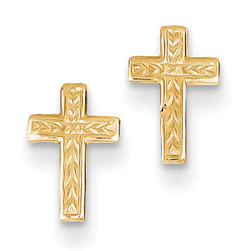 14k Polished Cross Post Earrings TC628 - shirin-diamonds
