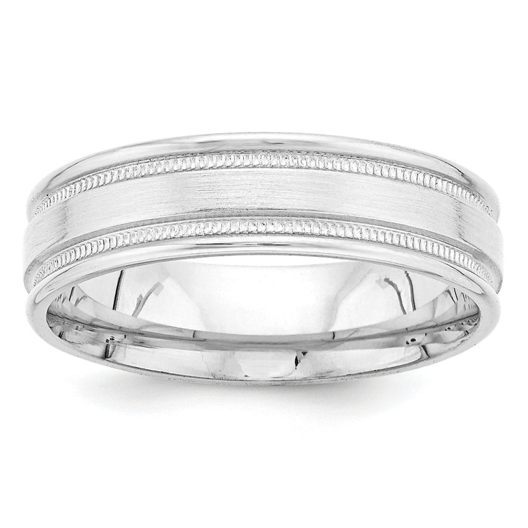 14k White Gold Heavy Comfort Fit Fancy Band WB102H - shirin-diamonds