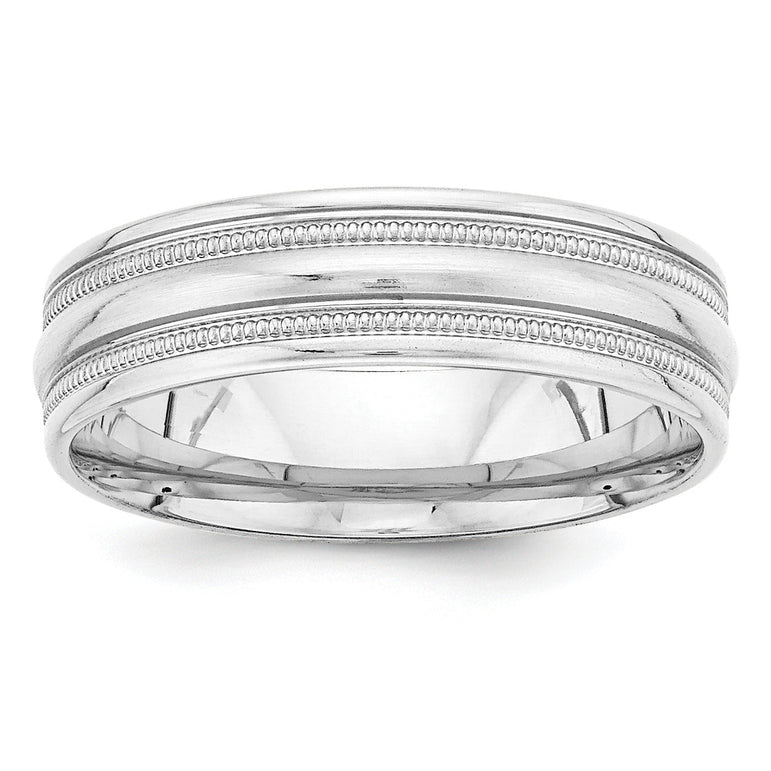 14k White Gold Standard Comfort Fit Fancy Band WB104S - shirin-diamonds