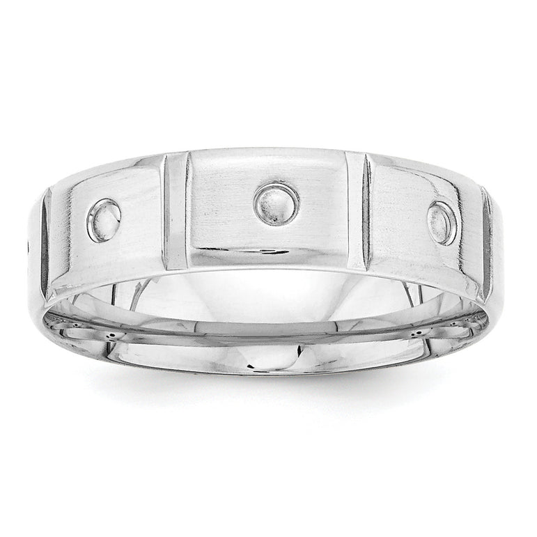 14k White Gold Heavy Comfort Fit Fancy Band WB107H - shirin-diamonds
