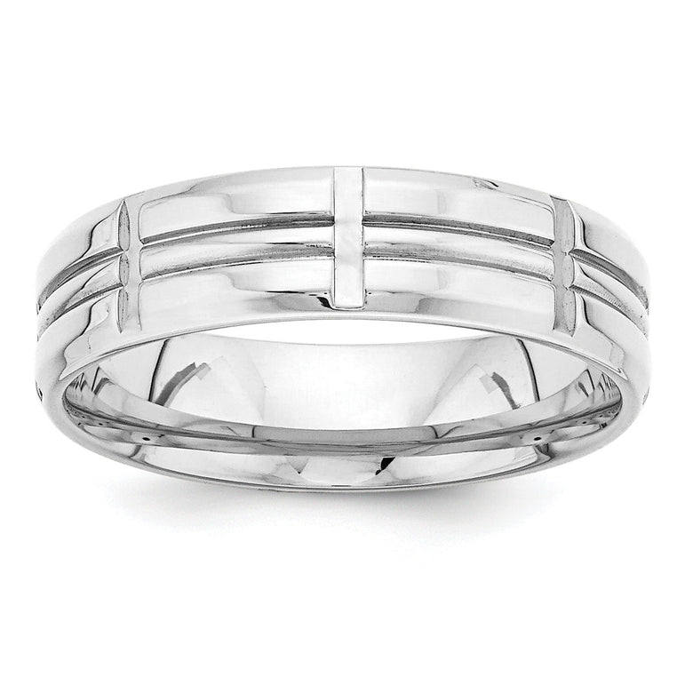 14k White Gold Light Comfort Fit Fancy Band WB110L - shirin-diamonds