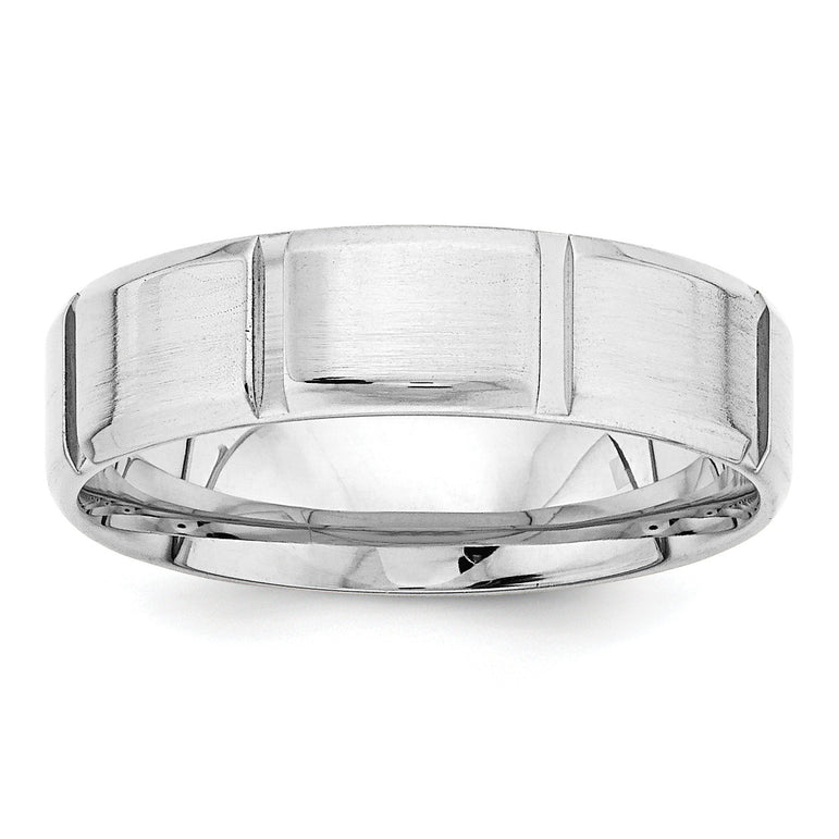 14k White Gold Standard Comfort Fit Fancy Band WB116S - shirin-diamonds