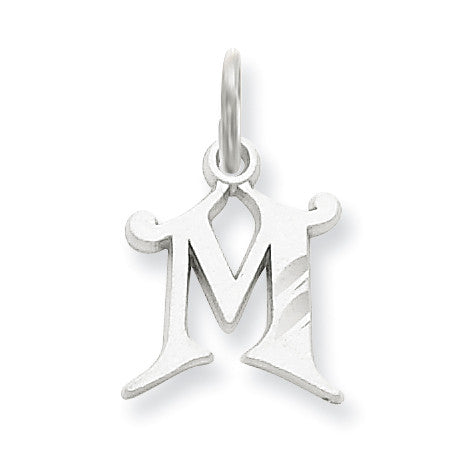 14k White Gold Diamond-cut Initial M Charm WCH139-M - shirin-diamonds