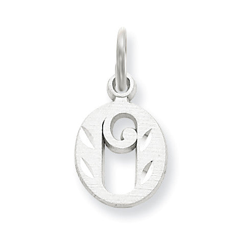 14k White Gold Diamond-cut Initial O Charm WCH139-O - shirin-diamonds