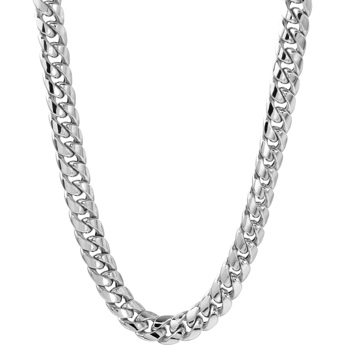 14kt Solid White Gold 7MM Miami Cuban Link Chain 22