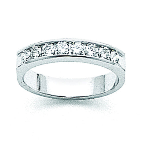 14k White Gold AA Diamond Channel Band X8962AA - shirin-diamonds
