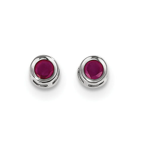 14k White Gold  4mm July Ruby Earrings