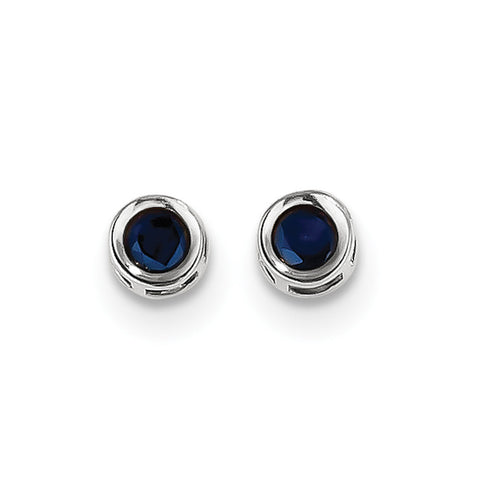 14k White Gold  4mm September Sapphire Earrings