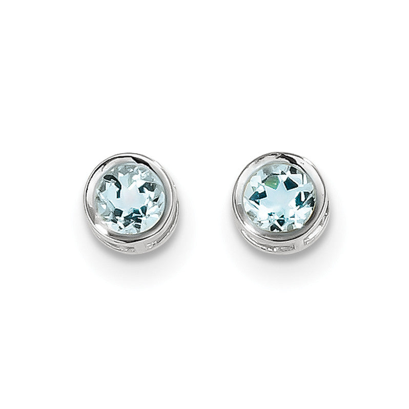 14k White Gold  5mm Bezel Aquamarine Stud Earrings XBE255 - shirin-diamonds
