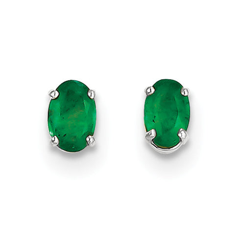 14k White Gold 6x4mm Emerald Earrings