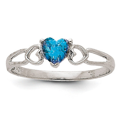 14k White Gold Blue Topaz Birthstone Ring XBR177 - shirin-diamonds