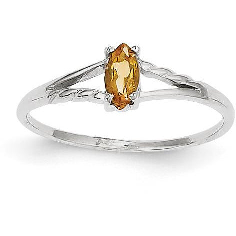 14k White Gold Citrine Birthstone Ring XBR200 - shirin-diamonds