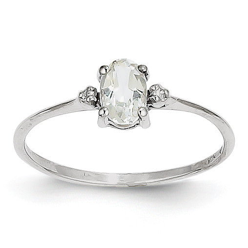 14k White Gold Diamond & White Topaz Birthstone Ring XBR217 - shirin-diamonds