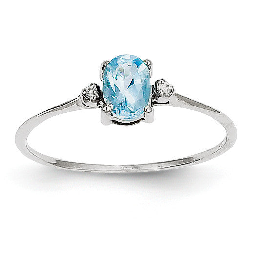 14k White Gold Diamond & Blue Topaz Birthstone Ring XBR225 - shirin-diamonds