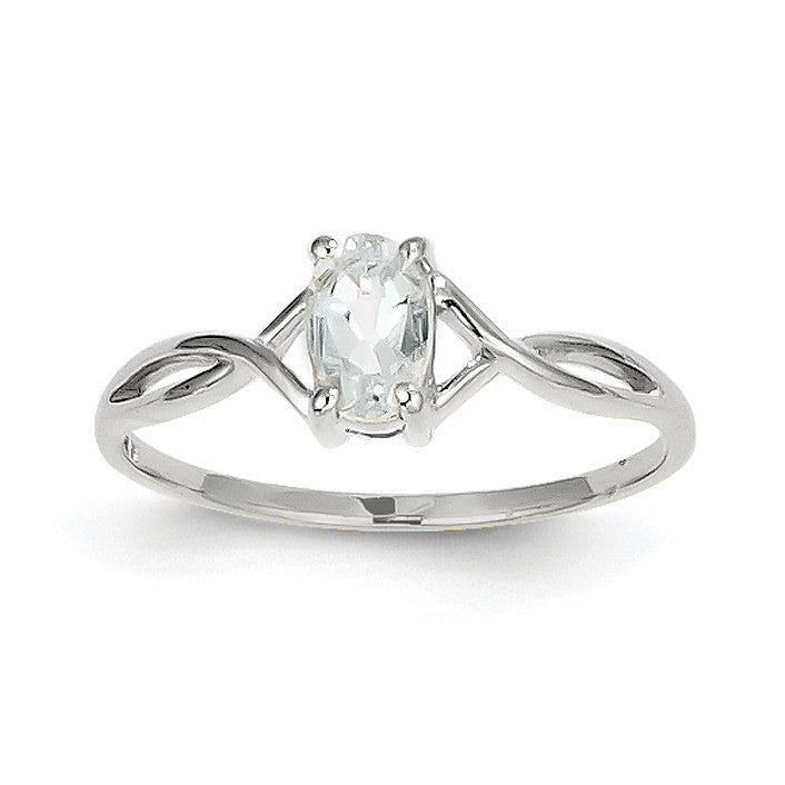 14k White Gold Aquamarine Birthstone Ring XBR422 - shirin-diamonds