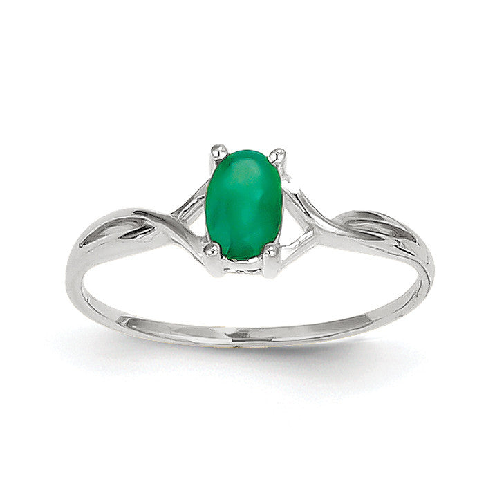 14k White Gold Emerald Birthstone Ring XBR424 - shirin-diamonds
