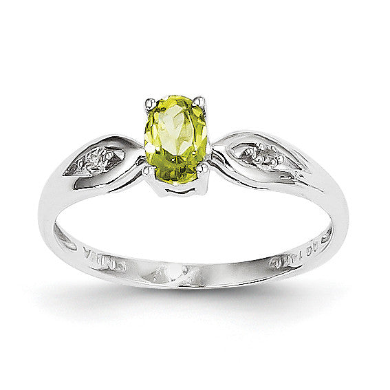 14k White Gold Peridot Diamond Ring XBS317 - shirin-diamonds