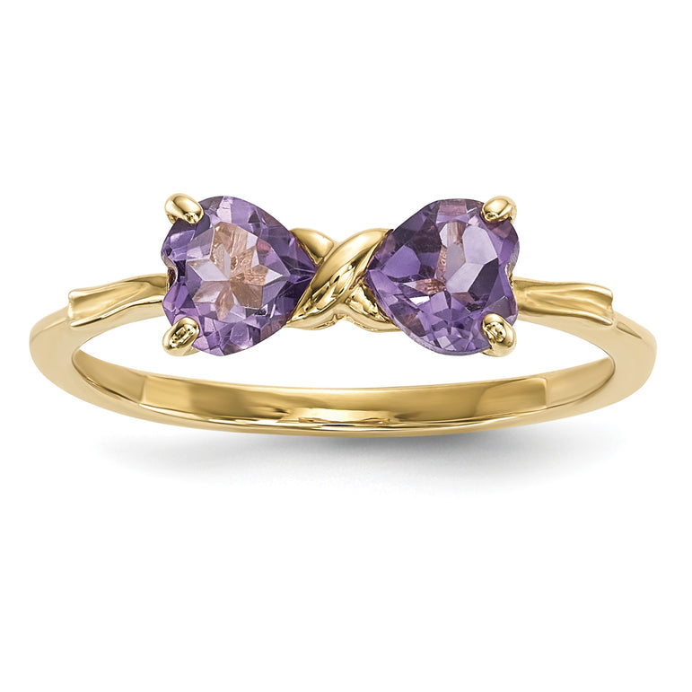 14k Gold Polished Amethyst Bow Ring XBS513 - shirin-diamonds