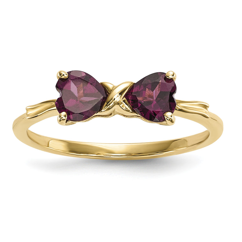 14k Gold Polished Rhodolite Bow Ring XBS521 - shirin-diamonds