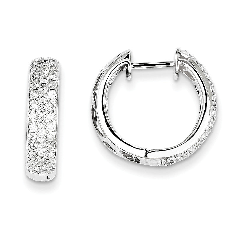 14k White Gold Diamond Hinged Hoop Earrings XE1302AA - shirin-diamonds