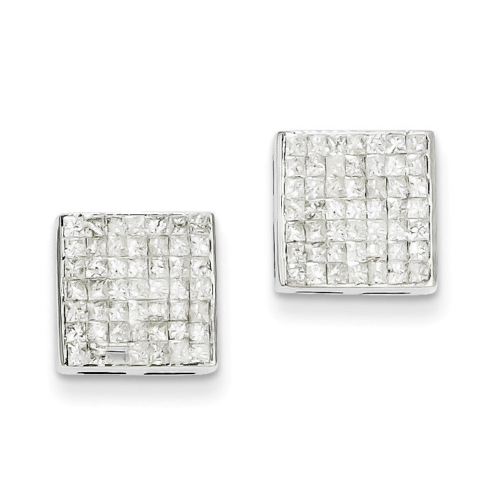14k White Gold Princess AA Diamond Screwback Earrings XE1543AA - shirin-diamonds