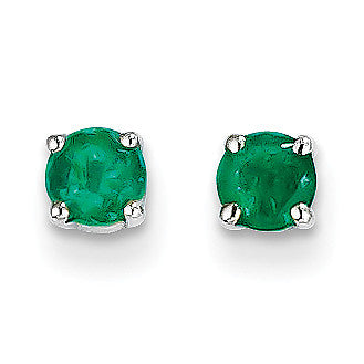 14k White Gold Emerald Earrings