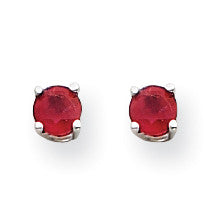 14k White Gold Ruby Earrings