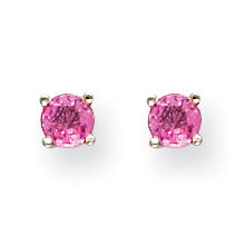 14k White Gold Pink Sapphire Earrings