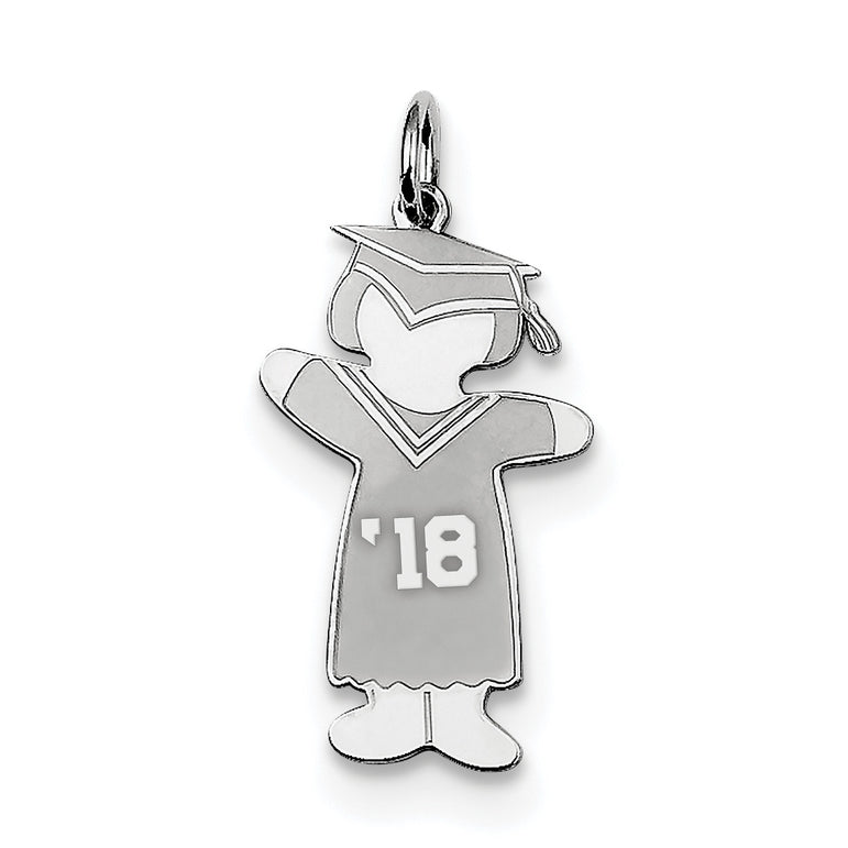 Sterling Silver Class of 2018 Girl Cuddle Charm XK1964SS - shirin-diamonds